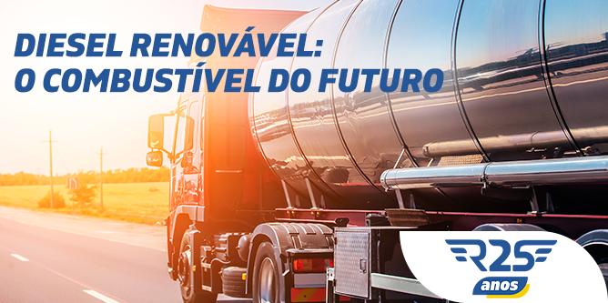 Caminhão de combustível transportando diesel renovável, o combustível do futuro